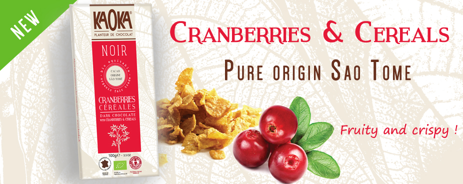 New Organic Fair Trade Dark Chocolate Cranberries & Cereals KAOKA