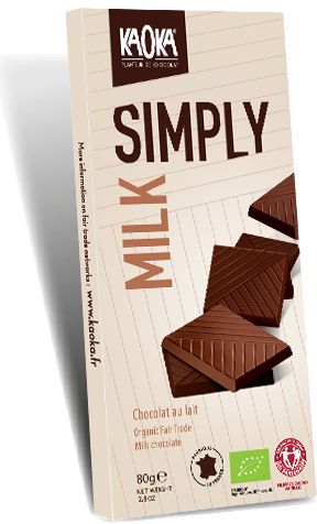Simply organic fair trade milk chocolate