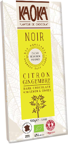 Dark Chocolate Lemon Ginger Organic FairtradeKAOKA