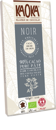 Organic fair trade ecuador origin dark chocolate 90% without Cocoa butter