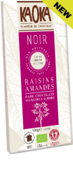 Dark chocolate raisins almonds organic fairtrade KAOKA