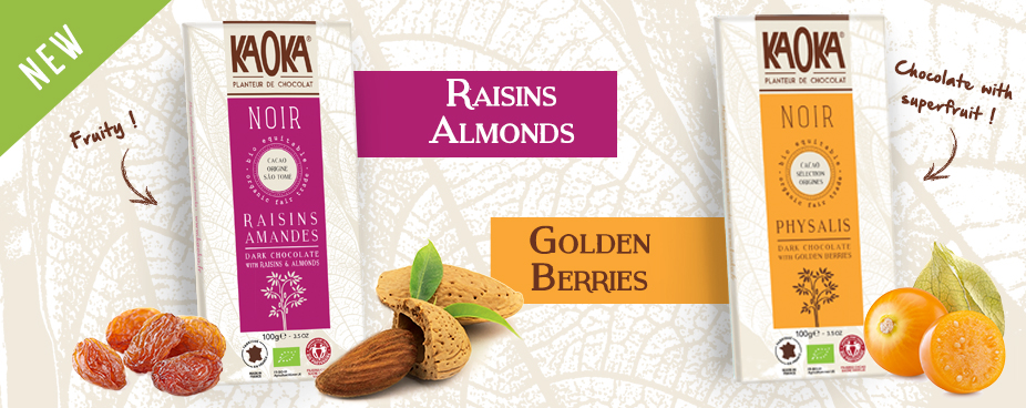 New Chocolate Dark Organic and Fairtrade Raisins Almonds & Golden-Berries